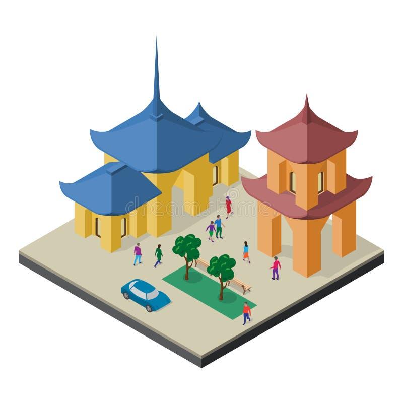 Paisaje urbano isom?trico del Este de Asia Templo budista, pagoda, ?rboles, bancos, coche y gente libre illustration