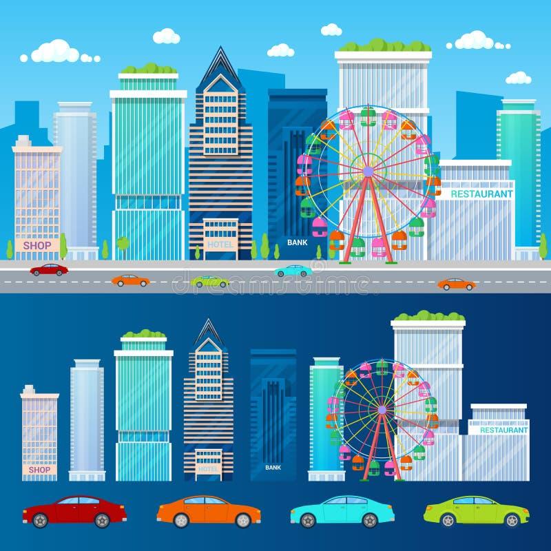 Paisaje urbano moderno con los rascacielos Ferris Wheel y los coches stock de ilustración
