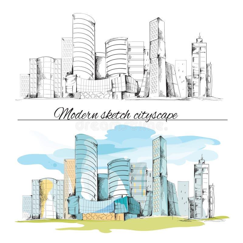 Paisaje urbano moderno de los edificios del bosquejo ilustración del vector