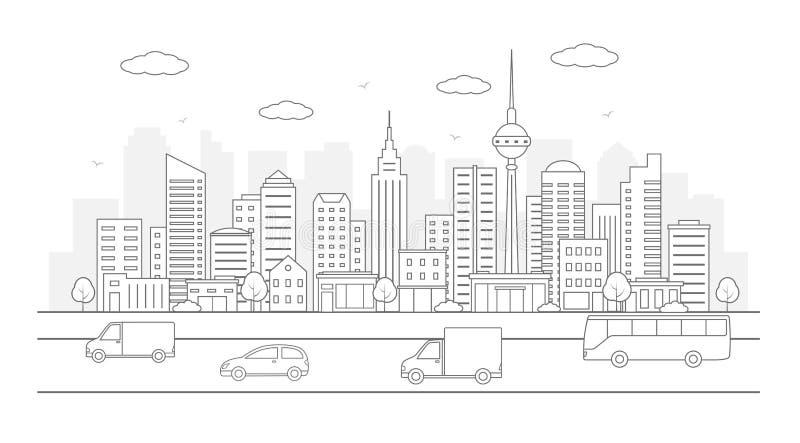 Paisaje urbano moderno Ejemplo de la vida de ciudad con las fachadas de la casa, el camino y otros detalles urbanos stock de ilustración