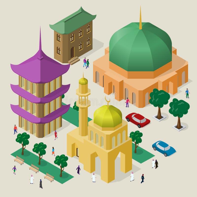 Paisaje urbano multicultural del vector Sistema de objetos isom?tricos Edificio, mezquita, templo, pagoda, bancos, árboles, coche libre illustration