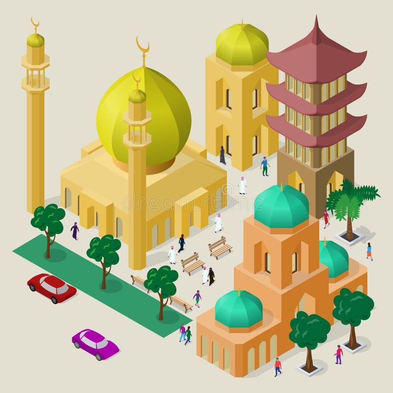 Paisaje urbano multicultural del vector Sistema de objetos isom?tricos Edificio, mezquita, templo, pagoda, bancos, ?rboles, coche libre illustration