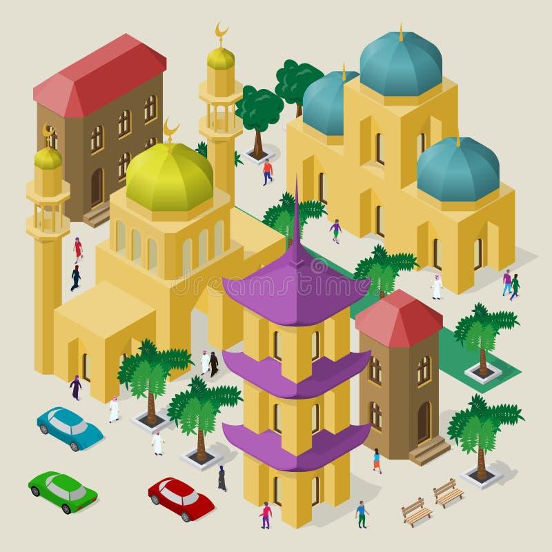 Paisaje urbano multicultural del vector Sistema de objetos isom?tricos Edificios, mezquita, templo, pagoda, bancos, árboles, coch ilustración del vector