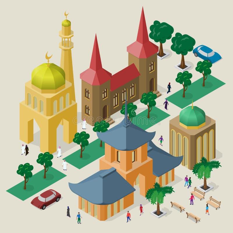 Paisaje urbano multicultural del vector Sistema de objetos isom?tricos Edificios, mezquita, templo, pagoda, bancos, ?rboles, coch libre illustration