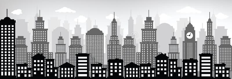 Paisaje urbano (negro y blanco) ilustración del vector
