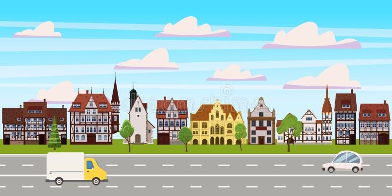 Paisaje urbano, opinión horizontal del panorama, edificios viejos arquitectura, coches de la carretera del camino Vector, ejemplo stock de ilustración
