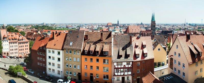 Paisaje urbano panorámico de Nuremberg, Baviera, Alemania imagenes de archivo