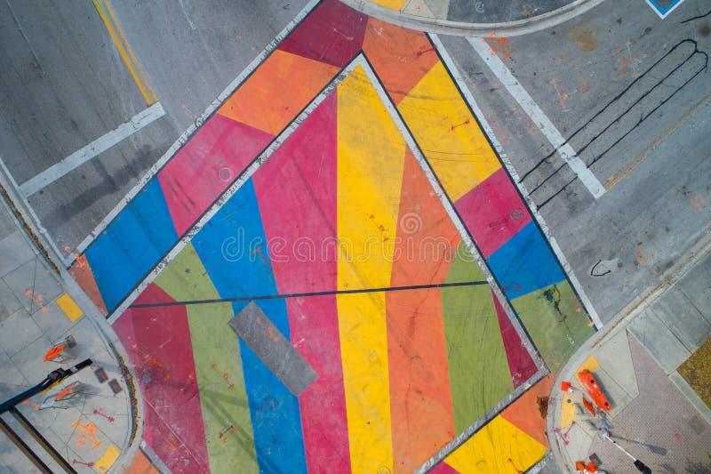 Paisaje urbano pintado arte de la ciudad de Fort Lauderdale de la intersección imagen de archivo libre de regalías