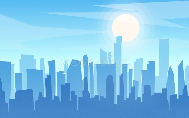 Paisaje urbano plano del estilo de la historieta diurna, horizonte, panor de los rascacielos ilustración del vector