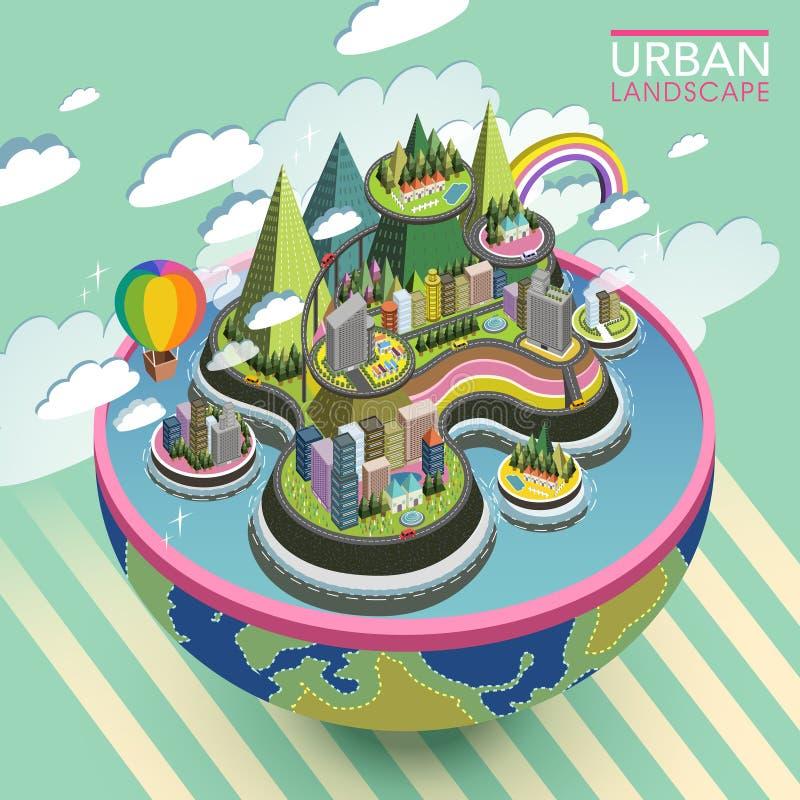 Paisaje urbano precioso isométrico plano 3d libre illustration