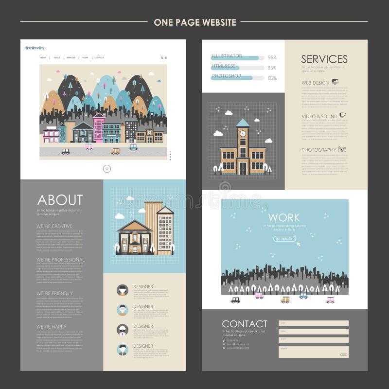 Paisaje urbano precioso un diseño del sitio web de la página ilustración del vector