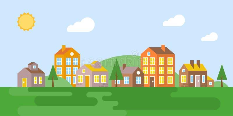 Paisaje urbano, pueblo en el verano, diseño plano ilustración del vector