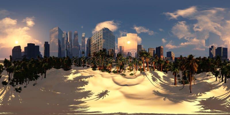 Paisaje urbano, puesta de sol en una ciudad moderna, mapa ambiental imagen de archivo