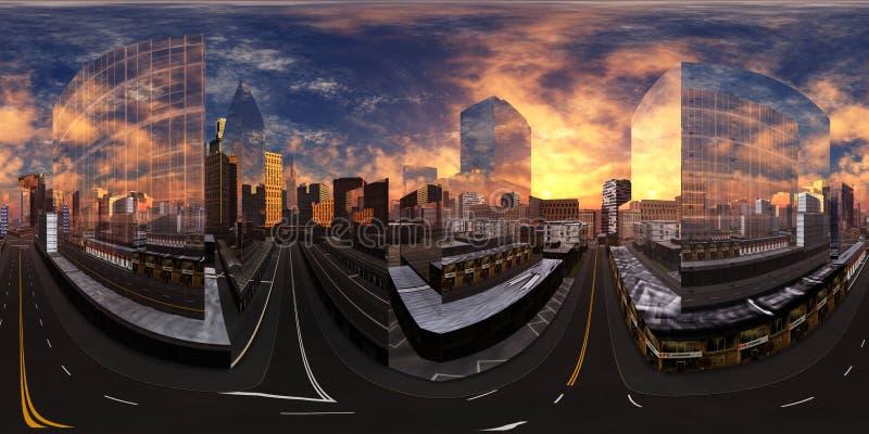 Paisaje urbano, puesta de sol en una ciudad moderna, mapa ambiental imágenes de archivo libres de regalías