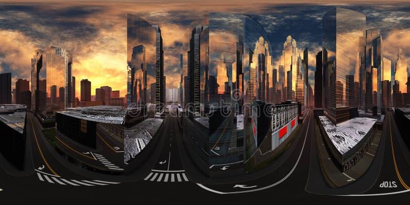 Paisaje urbano, puesta de sol en una ciudad moderna, mapa ambiental fotos de archivo libres de regalías