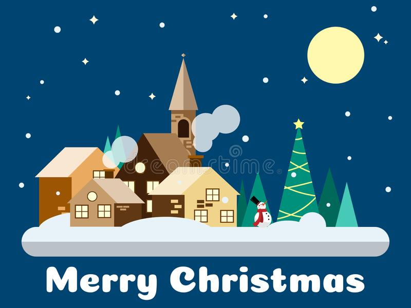 Paisaje urbano que nieva en diseño plano con el hombre de la nieve en los tiempos de la noche y el texto de la Feliz Navidad stock de ilustración