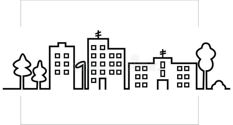 Paisaje urbano, silueta negra de la ciudad, icono del vector ilustración del vector