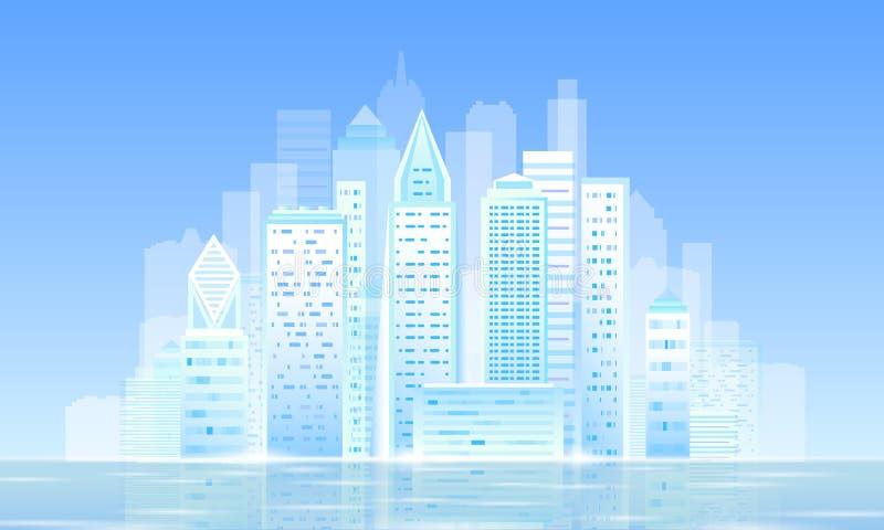 Paisaje urbano soleado ligero elegante de la mañana de la ciudad 3D Esperanza futurista inteligente del negocio del cielo azul de libre illustration
