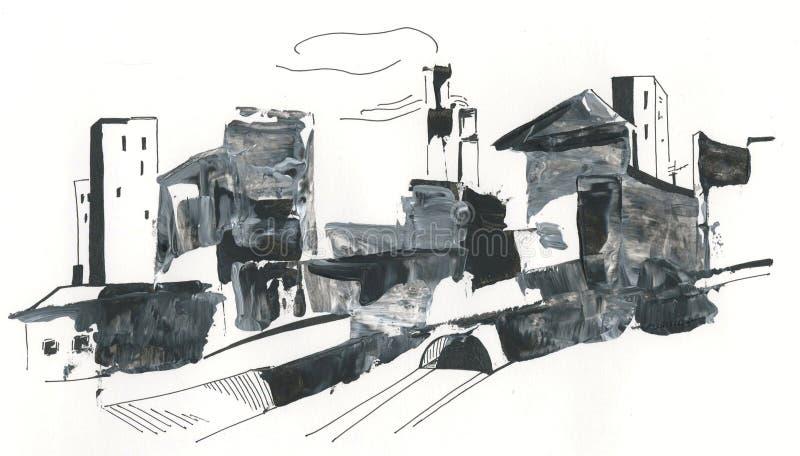 Paisaje urbano, tubos, edificios altos, dibujando con el dibujo de acrílico, abstracto ilustración del vector