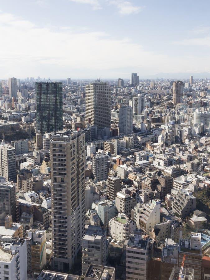 Paisaje urbano urbano, visión desde la torre de Tokio fotografía de archivo libre de regalías