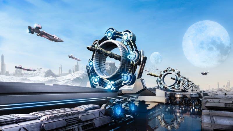 paisaje urbano y transporte del concepto de la fantasía del Scifi de la representación 3d en el futuro libre illustration