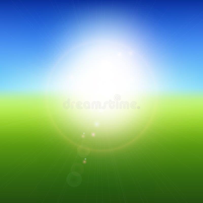Paisaje verde borroso con el cielo azul, explosión del sol del verano, ejemplo del fondo del vector stock de ilustración