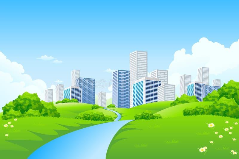 Paisaje verde con la ciudad stock de ilustración