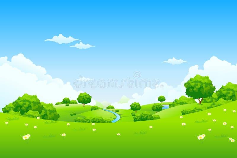 Paisaje verde con los árboles ilustración del vector