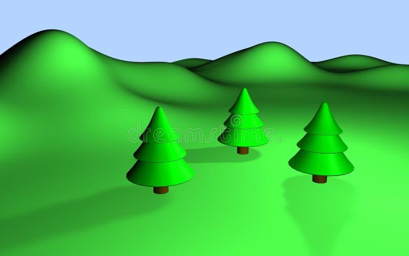 Paisaje verde 3d con tres árboles y colinas stock de ilustración