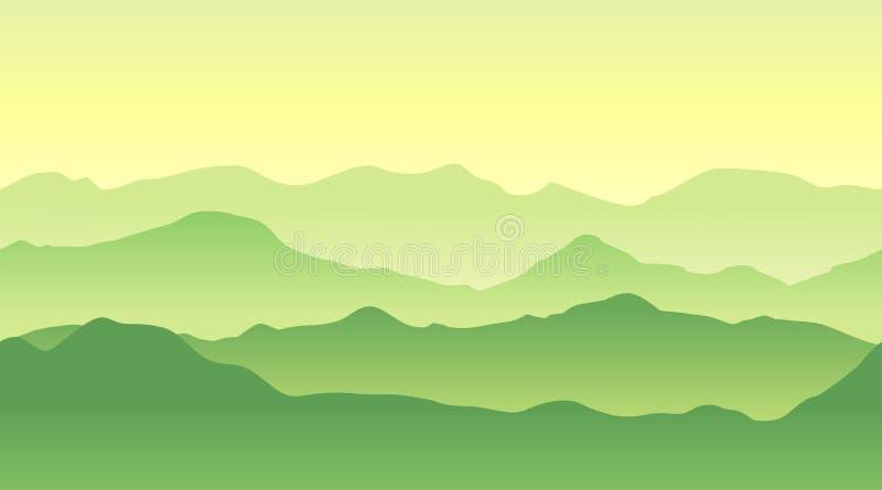 Paisaje verde de las montañas en verano Fondo inconsútil stock de ilustración