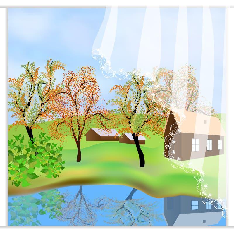 Paisaje verde del otoño La historieta dibujada a pulso al aire libre diseña Casas de la granja, escena del campo Opinión del lago ilustración del vector