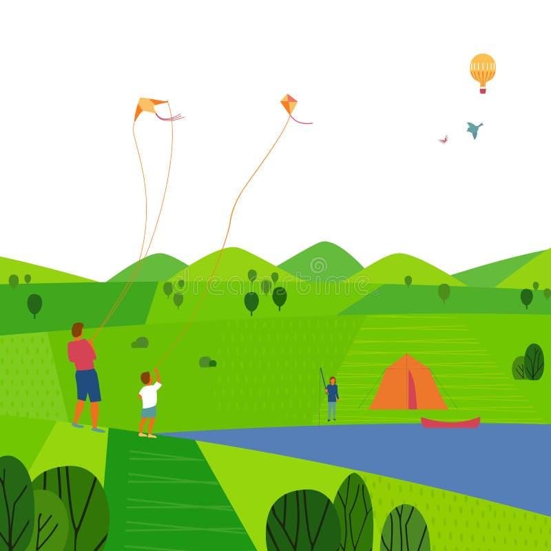 Paisaje verde del verano libre illustration