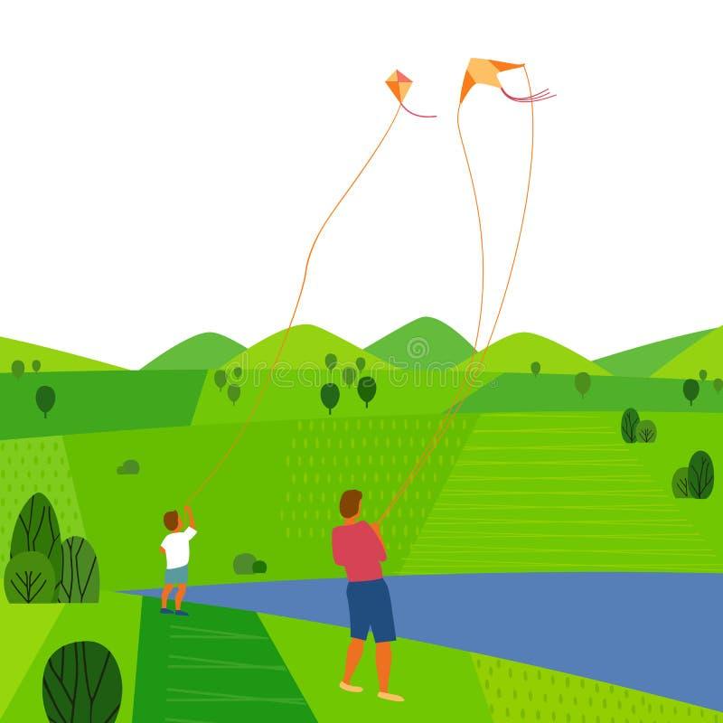 Paisaje verde del verano stock de ilustración