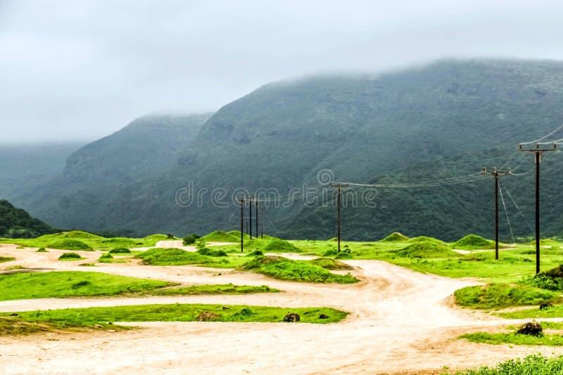 Paisaje verde enorme, ?rboles y monta?as de niebla en el centro tur?stico de Ayn Khor, Salalah, Om?n fotos de archivo libres de regalías