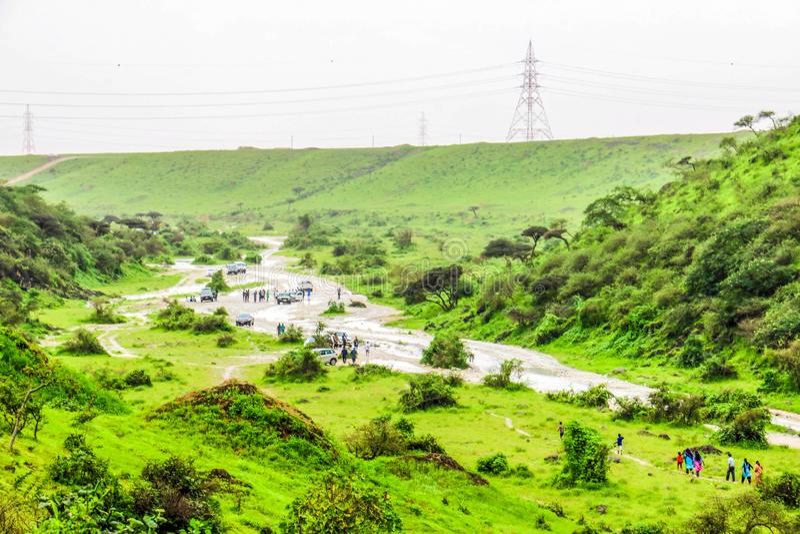 Paisaje verde enorme, ?rboles y monta?as de niebla en el centro tur?stico de Ayn Khor, Salalah, Om?n fotografía de archivo libre de regalías