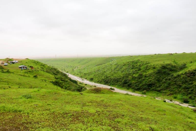 Paisaje verde enorme, ?rboles y monta?as de niebla en el centro tur?stico de Ayn Khor, Salalah, Om?n fotografía de archivo
