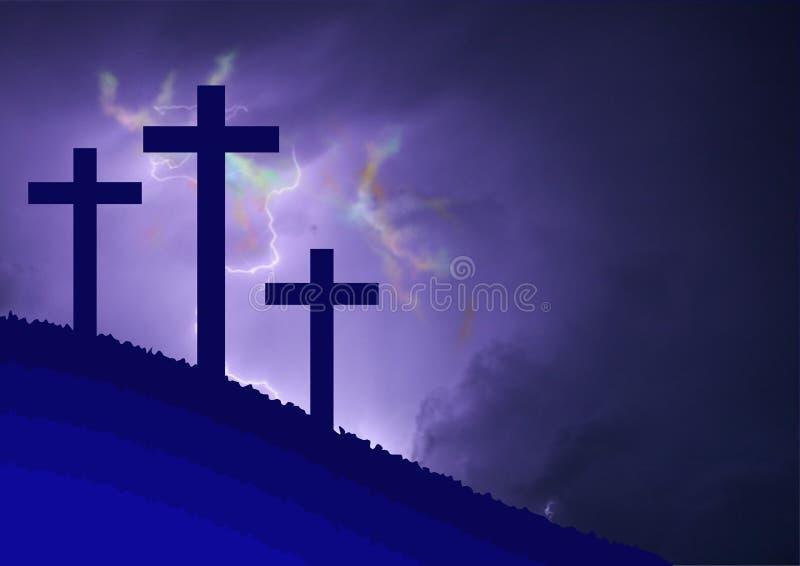 Paisaje vestido del Calvary, con el simbolismo de la crucifixión de Jesús stock de ilustración