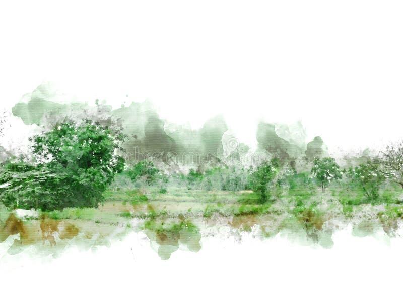 Paisaje y campo coloridos abstractos del árbol en la pintura del ejemplo de la acuarela libre illustration