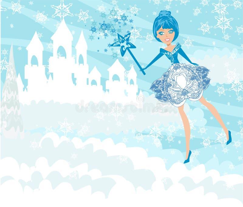 Paisaje y hada del castillo del invierno libre illustration