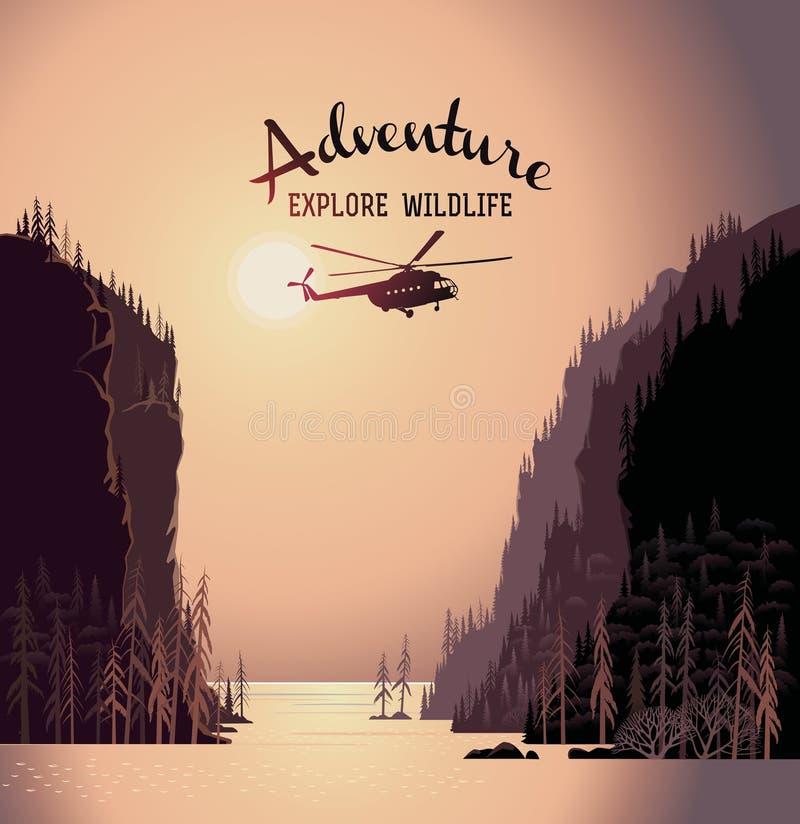 Paisaje y helicóptero de la montaña stock de ilustración