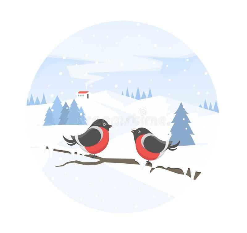 Paisaje y piñoneros del invierno en rama Vacaciones de invierno Bandera de la Navidad Ejemplo del vector en estilo plano libre illustration