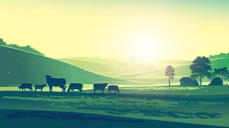 Paisaje y vacas del verano stock de ilustración
