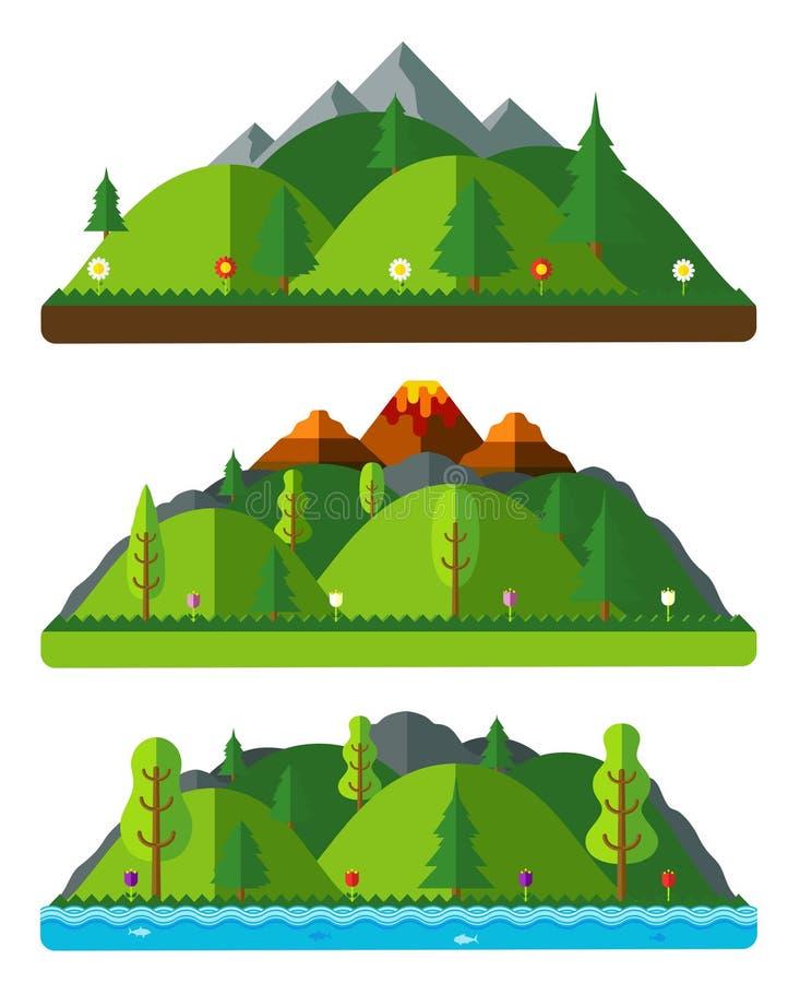 Paisajes, colinas y montañas de la naturaleza del diseño Paisaje natural libre illustration