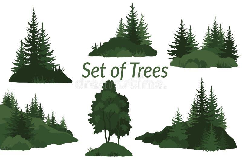 Paisajes con las siluetas de los árboles stock de ilustración