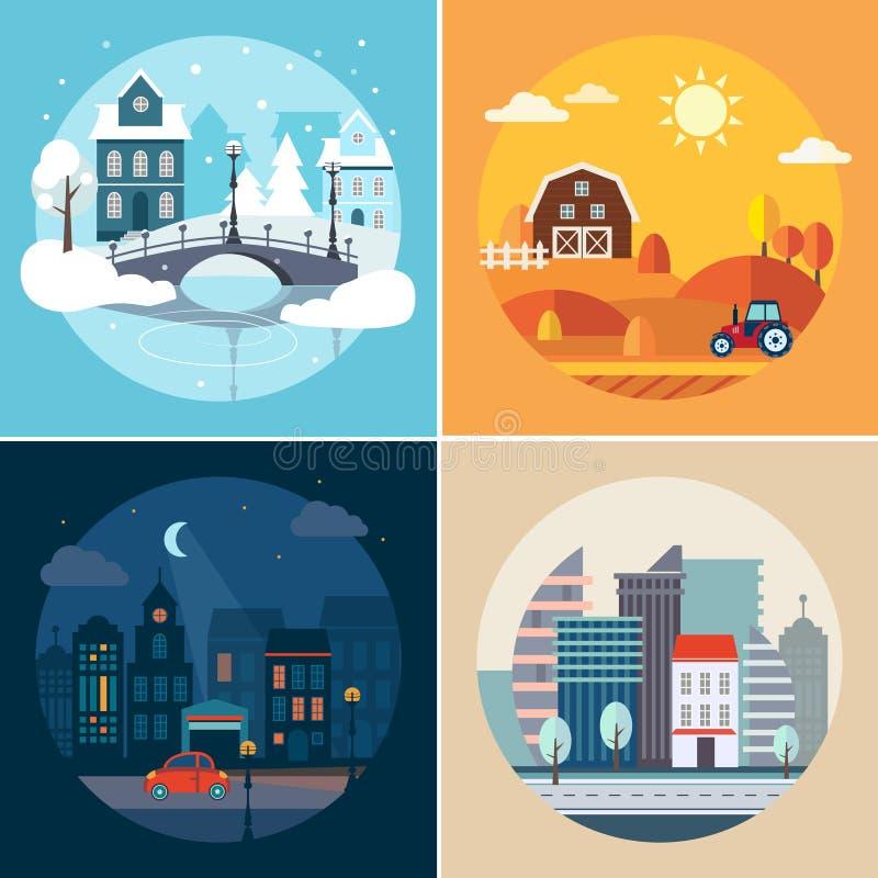 Paisajes de la ciudad y del país libre illustration