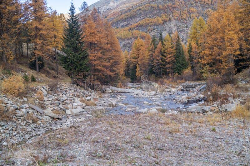 Paisajes de la montaña, colores de la caída, montañas, cielo y agua coloridos foto de archivo libre de regalías