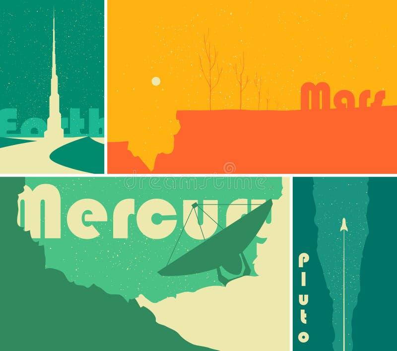 Carteles retros de la ciencia ficción del espacio libre illustration