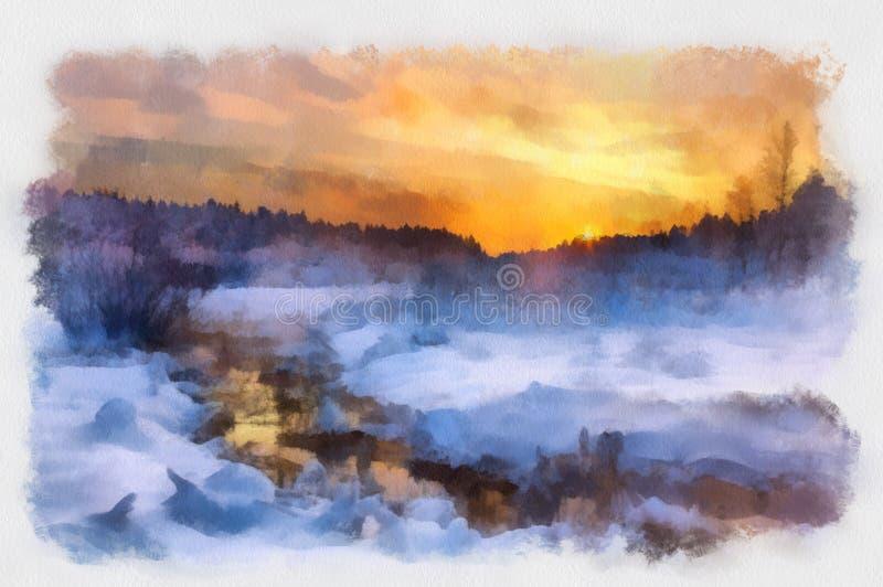 Paisajes del invierno de la acuarela ilustración del vector