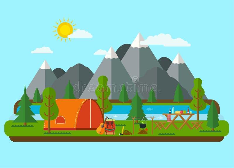 Paisajes del verano Barbacoa de la comida campestre stock de ilustración