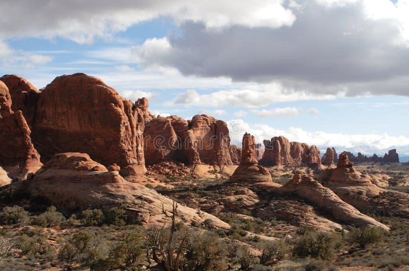 Paisajes esc?nicos de Utah en parque nacional de los arcos fotografía de archivo